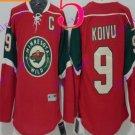 Stitched Minnesota Wild Blank 9 KOIVU Red Hockey Jersey Ice