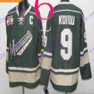 Stitched Minnesota Wild Blank 9 KOIVU Green Hockey Jersey Ice