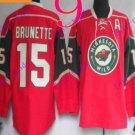 Stitched Minnesota Wild Blank 15 Brunette Red Hockey Jersey Ice