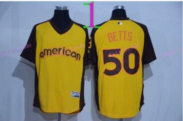 50 Mookie Betts Jersey Flexbase Boston Red Sox  Baseball Jerseys Cool Base Yellow