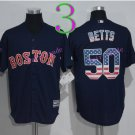50 Mookie Betts Jersey Flexbase Boston Red Sox  Baseball Jerseys Cool Base Blue Style 1