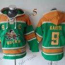 Anaheim Ducks #9 Paul Kariya Green Hockey Hooded Stitched Old Time Hoodies Sweatshirt Jerseys