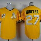 Oakland Athletics Flexbase 27 Catfish Hunter Jersey Yellow Baseball Jerseys Throwback Stitched