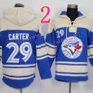 Toronto Blue Jays Hoodie #29 Joe Carter Blue Stitched Pullover Hoodie Sweatshirt