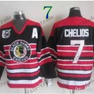 75 Anniversary Patch Chicago Blackhawks #7 Chris Chelios Throwback Retro Ice Hockey Jerseys