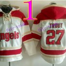 Los Angeles Angels #27 Mike Trout Baseball Hooded Stitched Old Time Hoodies Sweatshirt Jerseys
