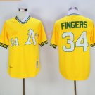Oakland Athletics 34 Rollie Fingers Jersey Yellow Baseball Jerseys Flexbase Throwback Stitched