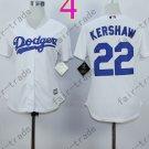 Los Angeles Dodgers Women Jersey 22 Clayton Kershaw Women Baseball Jersey White