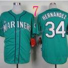 Seattle Mariners Jersey 34 Felix Hernandez Green Baseball Jersey Best Jersey Sox