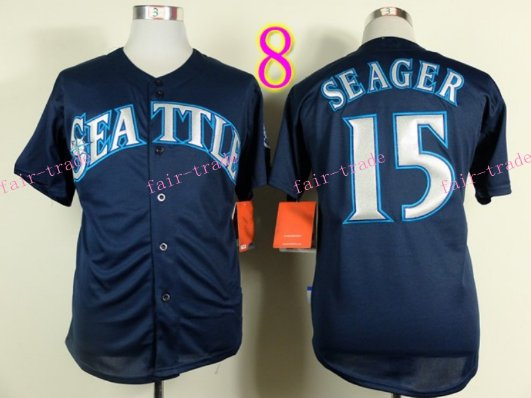 Seattle Mariners Jersey  #15 Kyle Seager Blue Baseball Jersey Best Jersey Sox