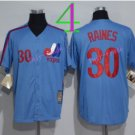 Montreal Expos Baseball Jerseys 2016 Retro 30 Tim Raines Jersey Throwback Home Road Away Blue