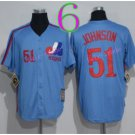 Montreal Expos Baseball Jerseys 2016 Retro 51 Randy Johnson Jersey Throwback Home Road Away Blue