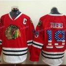 Chicago Blackhawks Jerseys 19 Janathan Toews Mens Red USA Flag Stitched Hockey Jersey