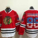 Chicago Blackhawks Jerseys #86 Teuvo Teravainen Mens Red USA Flag Stitched Hockey Jersey
