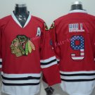 Chicago Blackhawks Jerseys  9 Bobby Hull Mens Red USA Flag Stitched Hockey Jersey