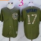 Chicago Cubs Army Green Salute To Service Jersey 17 Kris Bryant 100% Stitched