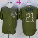 Chicago Cubs Army Green Salute To Service Jersey 21 Sammy Sosa 100% Stitched