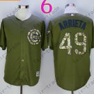 Chicago Cubs Army Green Salute To Service Jersey 49Jake Arrieta 100% Stitched