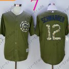 Chicago Cubs Army Green Salute To Service Jersey 12 Kyle Schwarber 100% Stitched