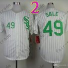 Chris Sale Jersey Chicago White Sox 49 White pullover Green Pinstripe Cool Base