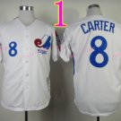 Montreal Expos Jersey  #8 Gary Carter White Throwback Stitched