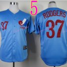 Montreal Expos Jersey #37 Steve Rodgers Blue Throwback Stitched