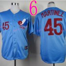 Montreal Expos Jersey #45 Pedro Martinez Blue Throwback Stitched