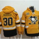 Pittsburgh Penguins #30 Murray Yellow Hockey Hooded Stitched Old Time Hoodies Jerseys