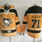 Pittsburgh Penguins #71 Evgeni Malkin Black Yellow Hockey Hooded Stitched Old Time Hoodies Jerseys