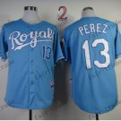 2015 World Series Kansas City Royals 13 Salvador Perez Baseball Blue Jerseys Authentic Stitched
