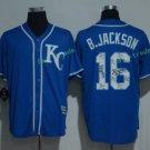 kansas city royals #16 bo jackson Blue Jersey 2017 Baseball Jerseys Embroidered On