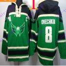 Stitched WCapitals Hoody #8 Ovekhkin men Green Jerseys Ice Jersey Hoodie