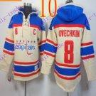 Stitched WCapitals Hoody #8 Ovekhkin men Cream Jerseys Ice Jersey Hoodie