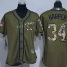 2017 Women Majestic Stitched Washington Nationals Blank 34 Bryce Harper Green Baseball Jersey