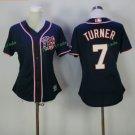 2017 Women Majestic Stitched Washington Nationals Blank 7 Trea Turner Blue Baseball Jersey