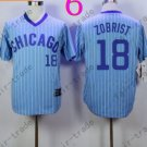 Ben Zobrist Jersey Chicago Cubs 18# Baseball Jersey, Stitched Light Blue