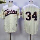 Baseball 34 Kirby Puckett Jersey Minnesota Twins 1987 Cooperstown Cream