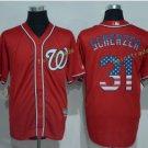 Washington Nationals 31 Scherzer Baseball Jersey Red USA Flag Fashion Cool Base Stitched