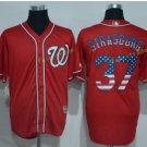 Washington Nationals 37 Strasburg Baseball Jersey Red USA Flag Fashion Cool Base Stitched