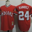 Cleveland Indians #24 Manny Ramirez Red Throwback Stitched Jersey