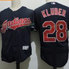 Cleveland Indians #28 Corey Kluber Blue Throwback Stitched Jersey