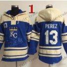 Kansas City Royals #13 salvador perez Baseball Hooded Stitched Old Time Hoodies Sweatshirt Jerseys