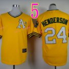 Rickey Henderson Jersey Oakland Athletics 1990 World Series Yellow Throwback Vintage