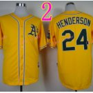 Rickey Henderson Jersey Oakland Athletics 1990 World Series Yellow Green Throwback Vintage