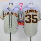 San Francisco 35 Brandon Crawford Light Grey Jerseys SF Baseball Jersey W/Champion Path