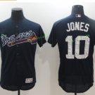 #10 Chipper Jones Blue Jersey 2017 Atlanta Braves Spring Training Men All Stitched Flexbase