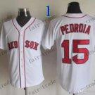 Boston Red White #15 Dustin Pedroia White 2015 Baseball Jersey Authentic Stitched