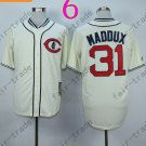 Chicago Cubs Baseball Jersey 31 Greg Maddux Cream Red Stitched Authentic Baseball Jersey