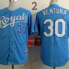 2015 World Series Kansas City Royals Jersey 30 Yordano Ventura Blue Baseball Jersey