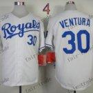 2015 World Series Kansas City Royals Jersey 30 Yordano Ventura White Baseball Jersey